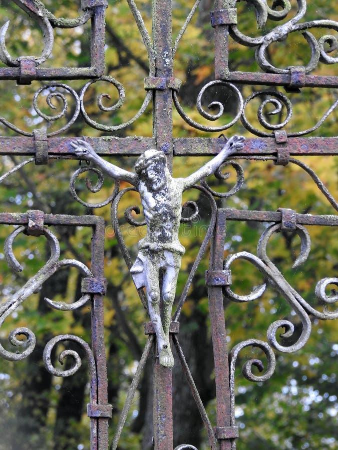 Kreuz und Jesus Christ, Litauen stockfotografie