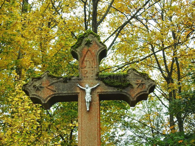 Kreuz und Jesus Christ, Litauen stockfoto