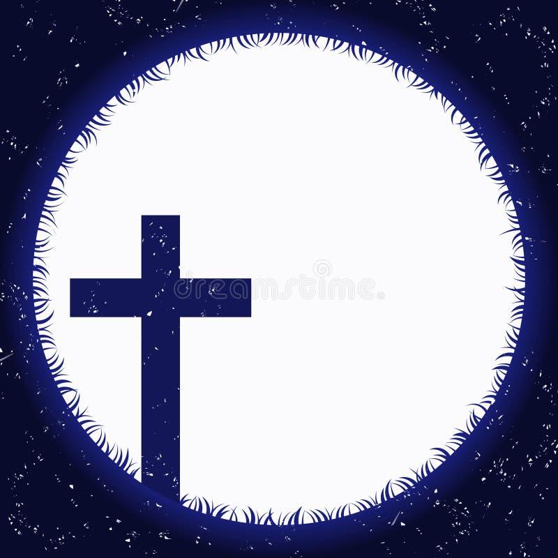 Kreuz und Mond nachts stock abbildung