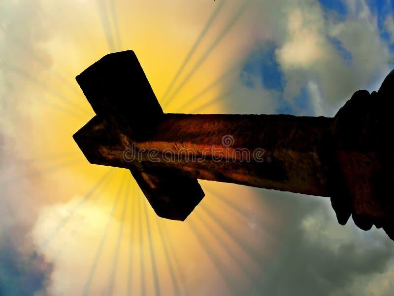 Kreuz und Strahlen der Leuchte lizenzfreie stockfotografie