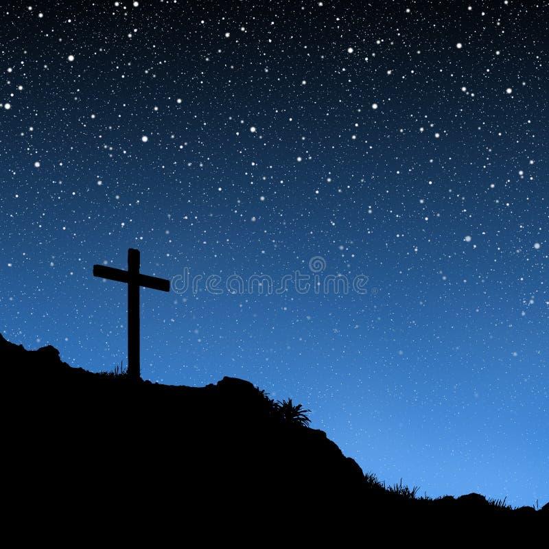 Kreuz unter Sternen lizenzfreie abbildung