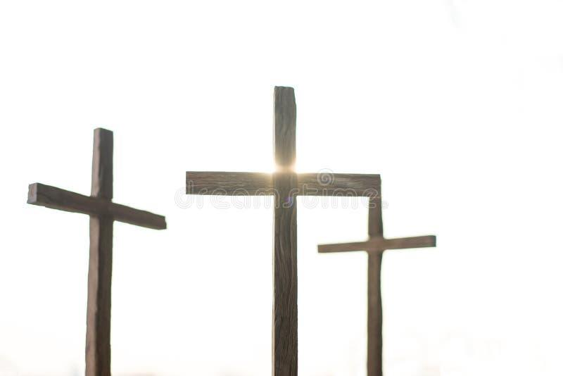 3 Kreuze in einer Stadt stockfotografie