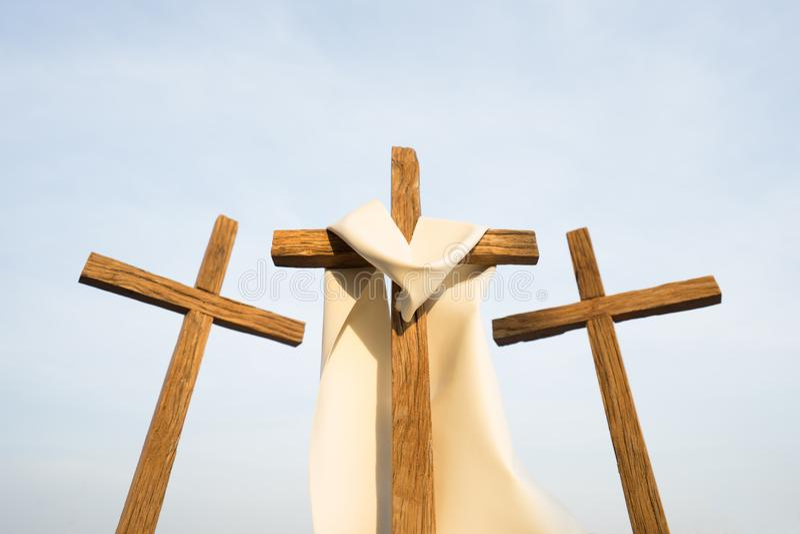 3 Kreuze in einer Stadt stockfoto