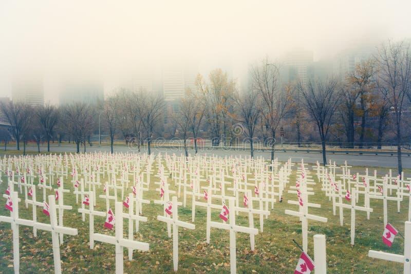 Kreuze im Nebel lizenzfreie stockfotografie