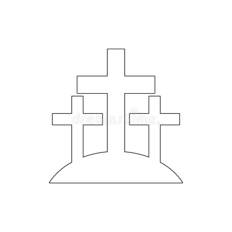 Kreuze, Kirchhofentwurfsikone Elemente der Ostern-Illustrationsikone Zeichen und Symbole k?nnen f?r Netz, Logo, mobiler App, UI v stock abbildung