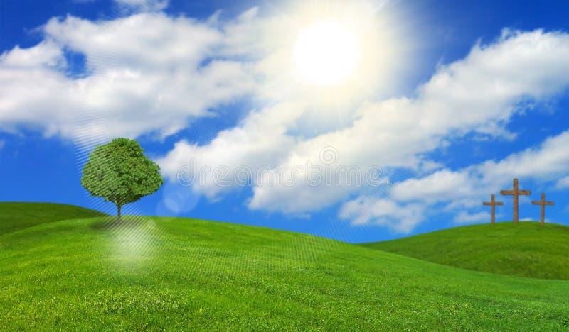 Kreuze und Baum auf Gipfeln stockfoto