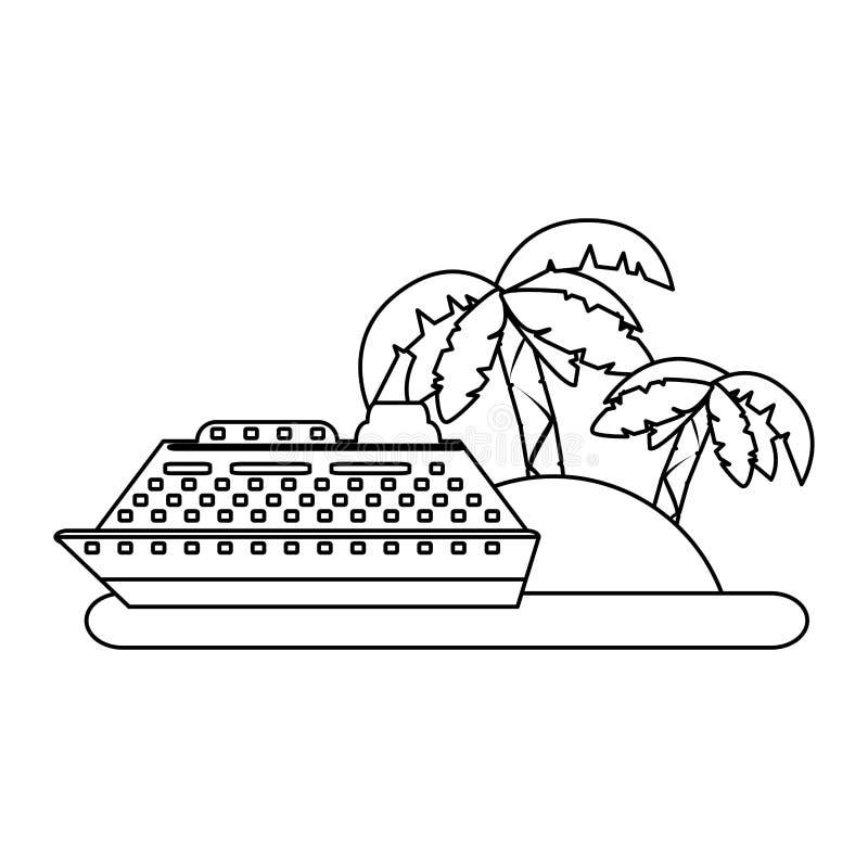Kreuzer auf Insel in Schwarzweiss stock abbildung