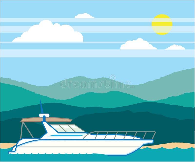 Kreuzer-Bootsvektor-Landschaftsufer vektor abbildung