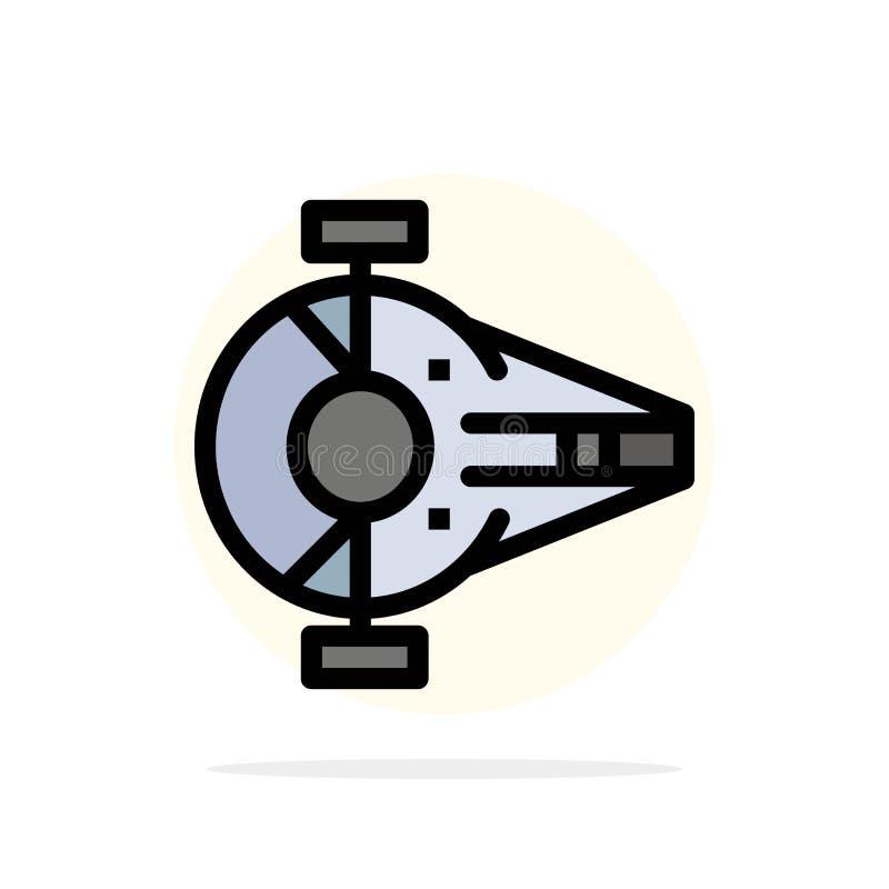Kreuzer, Kämpfer, Auffänger, Schiff, flache Ikone Farbe des Raumfahrzeug-Zusammenfassungs-Kreis-Hintergrundes lizenzfreie abbildung