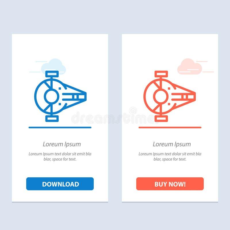 Kreuzer, Kämpfer, Auffänger, Schiff, Raumfahrzeug-Blau und rotes Download und Netz Widget-Karten-Schablone jetzt kaufen stock abbildung