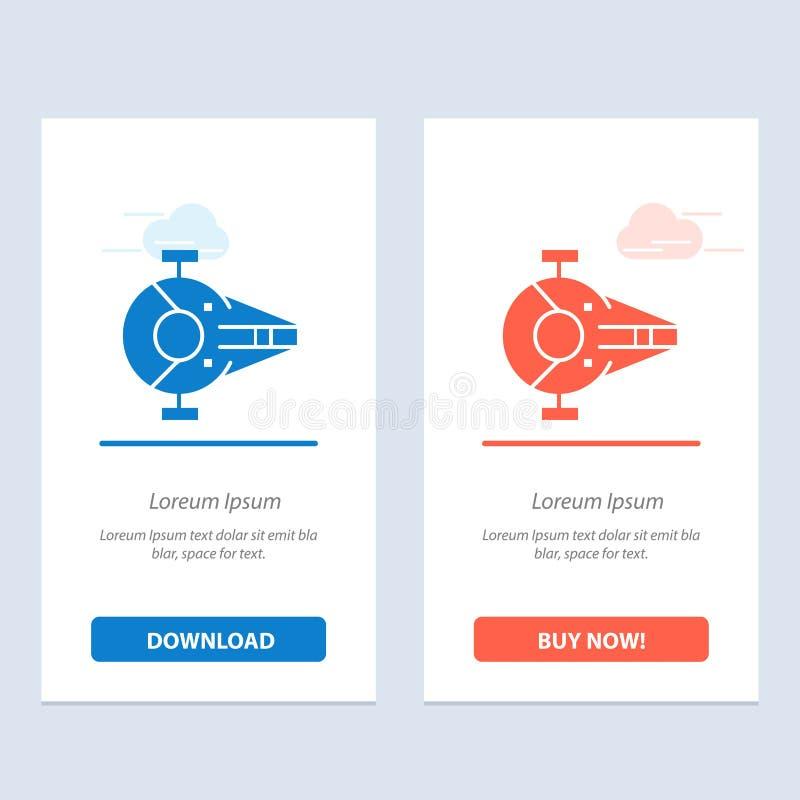 Kreuzer, Kämpfer, Auffänger, Schiff, Raumfahrzeug-Blau und rotes Download und Netz Widget-Karten-Schablone jetzt kaufen vektor abbildung