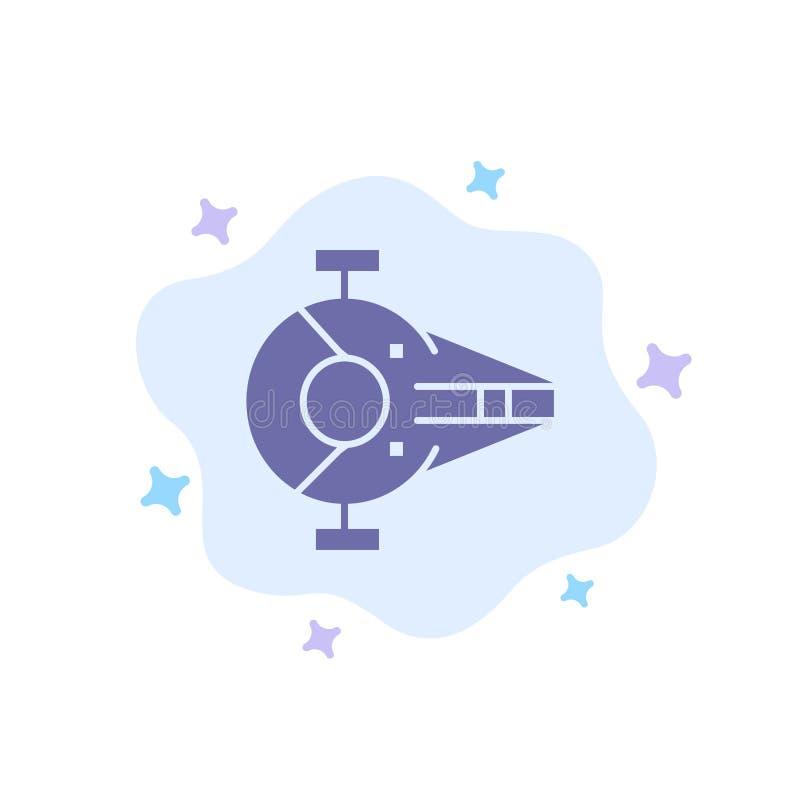 Kreuzer, Kämpfer, Auffänger, Schiff, Raumfahrzeug-blaue Ikone auf abstraktem Wolken-Hintergrund vektor abbildung