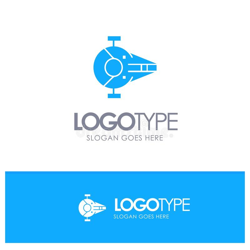 Kreuzer, Kämpfer, Auffänger, Schiff, Raumfahrzeug-blaues festes Logo mit Platz für Tagline lizenzfreie abbildung