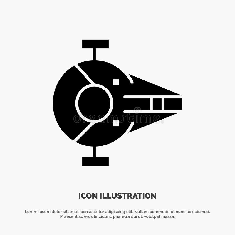 Kreuzer, Kämpfer, Auffänger, Schiff, Raumfahrzeug fester Glyph-Ikonenvektor vektor abbildung