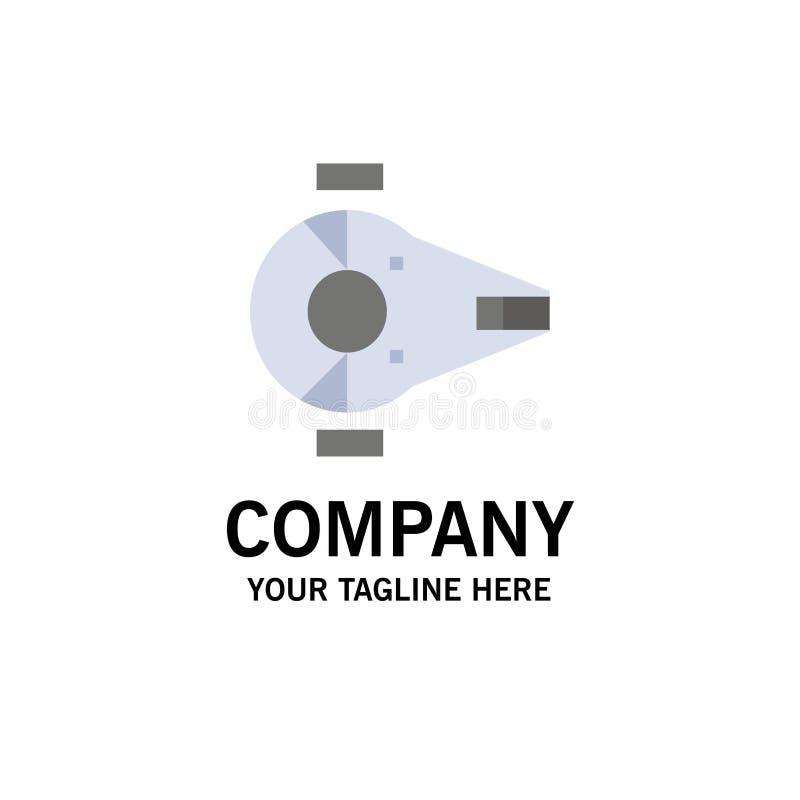 Kreuzer, Kämpfer, Auffänger, Schiff, Raumfahrzeug-Geschäft Logo Template flache Farbe lizenzfreie abbildung