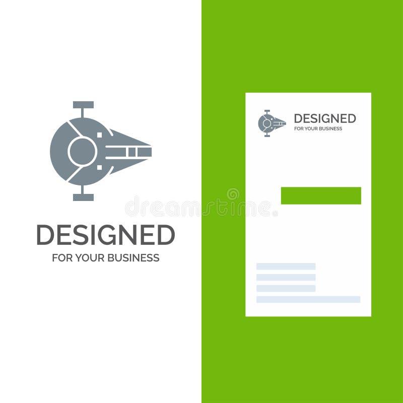 Kreuzer, Kämpfer, Auffänger, Schiff, Raumfahrzeug Grey Logo Design und Visitenkarte-Schablone stock abbildung
