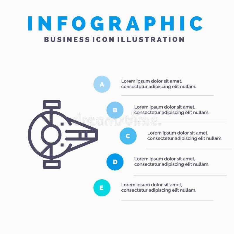 Kreuzer, Kämpfer, Auffänger, Schiff, Raumfahrzeug-Linie Ikone mit Hintergrund infographics Darstellung mit 5 Schritten lizenzfreie abbildung
