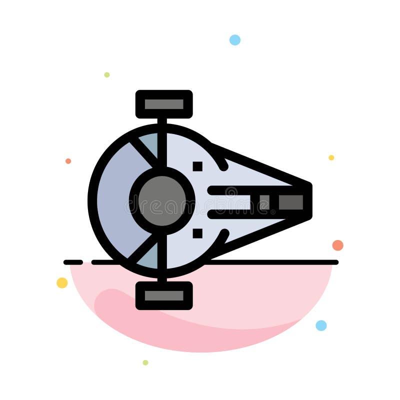 Kreuzer, Kämpfer, Auffänger, Schiff, Raumfahrzeug-Zusammenfassungs-flache Farbikonen-Schablone vektor abbildung