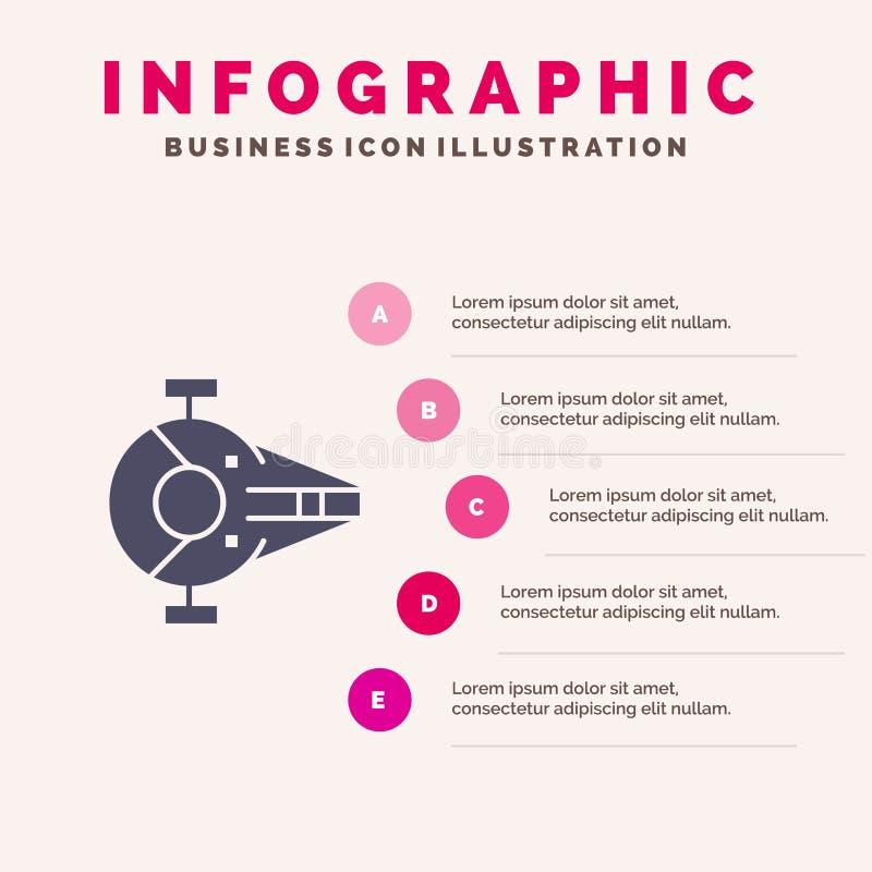 Kreuzer, Kämpfer, Auffänger, Schiff, Schritt-Darstellungs-Hintergrund Raumfahrzeug-fester Ikone Infographics 5 stock abbildung
