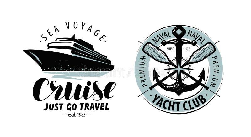Kreuzfahrt, Yachtclublogo oder Aufkleber Verrostete, alte, symbolische Kette von einem Anker mit Booten verblaßte zurück hinten B lizenzfreie abbildung