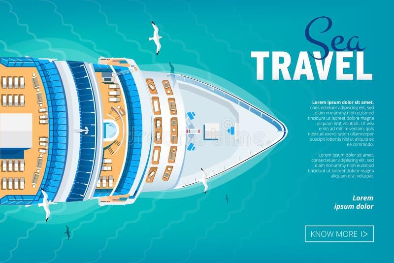 Kreuzfahrtschiffreisefahne lizenzfreie abbildung