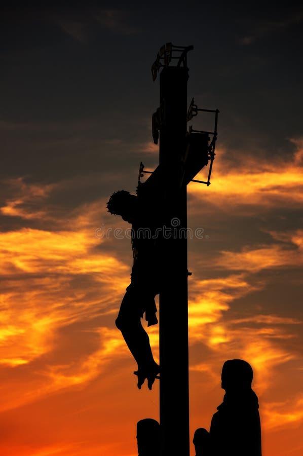 Kreuzigung auf Charles-Brücke in Prag lizenzfreie stockfotografie