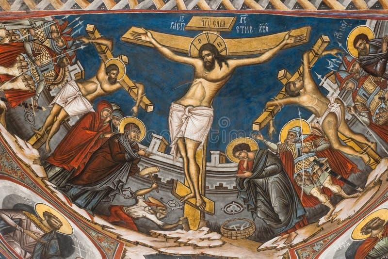 Kreuzigung von Jesus. Ikone vom Modovita Kloster lizenzfreie stockfotografie