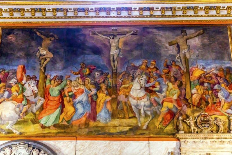 Kreuzigungs-Fresko Chiesa San Marcello al Corso Rome Italien stockbild