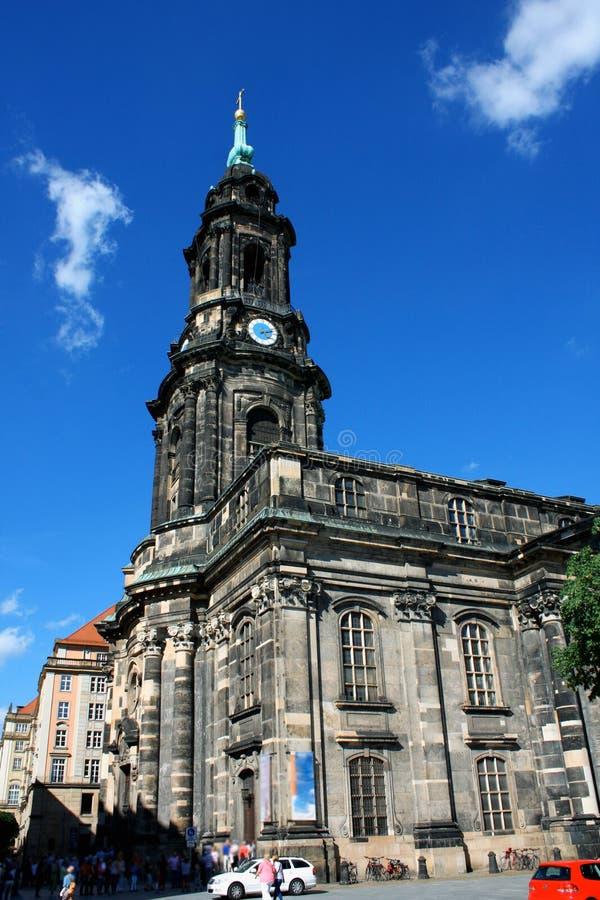 Kreuzkirche betydelsekyrka av det heliga korset i den Dresden Tyskland arkivbild