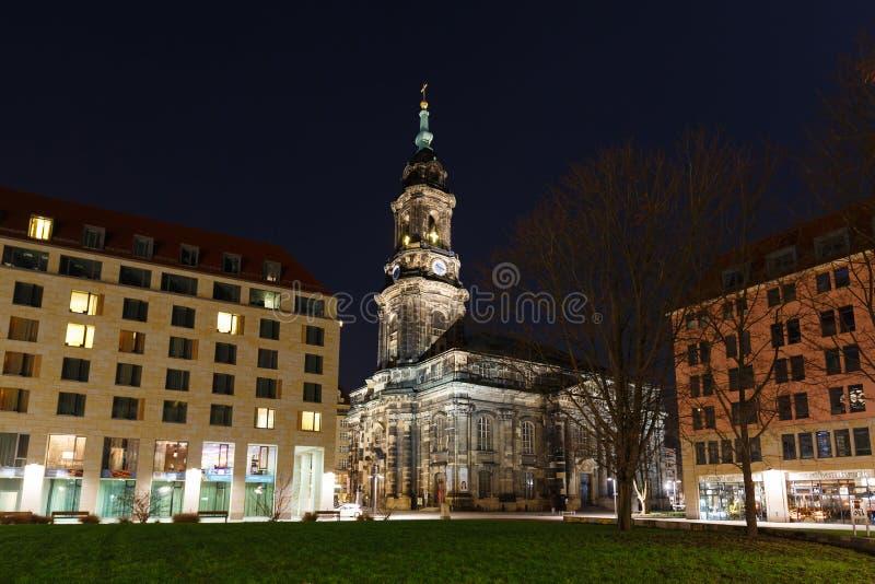 Kreuzkirche i Dresden royaltyfria foton