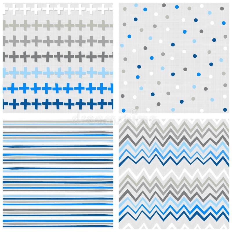 Kreuzpunktstreifen und blauer nahtloser Mustersatz des Sparrens lizenzfreie abbildung