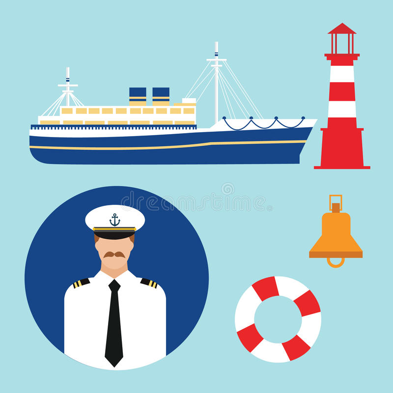 Kreuzschiffkapitän-Vektorbootsseemannikonengesetztes Seeleuchtturm-Marinemeer lizenzfreie abbildung