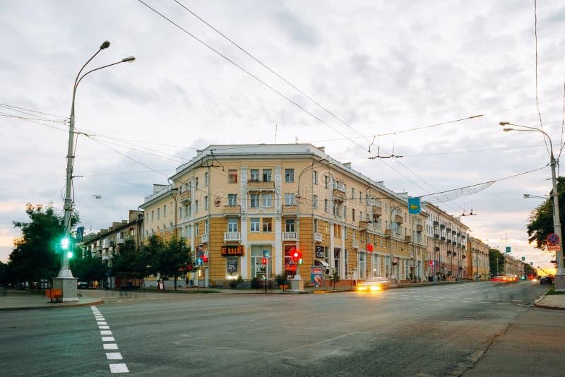 Kreuzungen auf Aussichtnamen von Lenin Gomel, Weißrussland lizenzfreie stockbilder