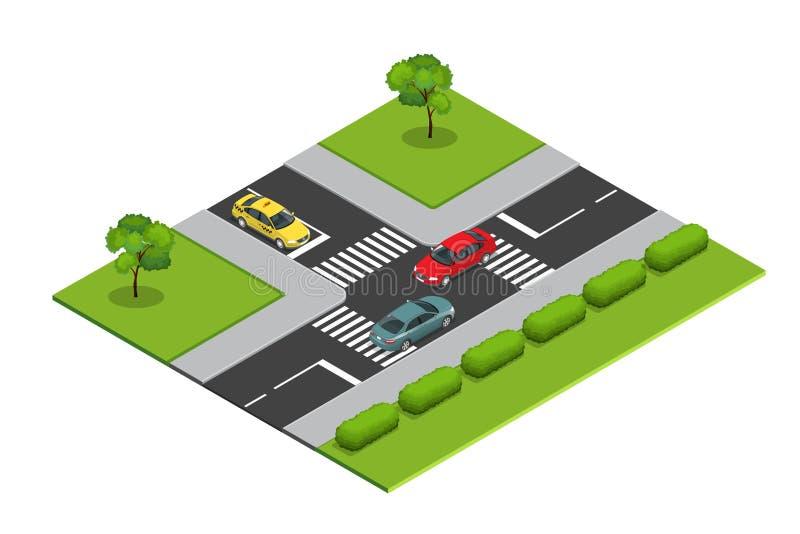Kreuzungen und isometrische Vektorillustration der Fahrbahnmarkierungen für infographics lizenzfreie abbildung