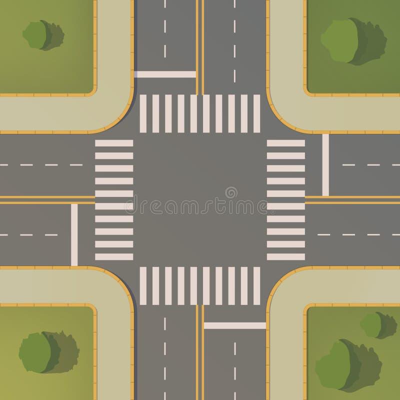 Kreuzungen von zwei Straßen mit Fußgängerwegen, Beschränkungen und Bretter, Fahrbahnmarkierungen, Gras, Büsche und Bäume lizenzfreie abbildung