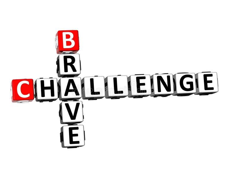 Kreuzworträtsel Breave-Herausforderung der Wiedergabe-3D über weißem Hintergrund lizenzfreie abbildung
