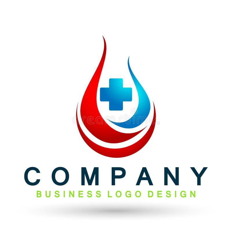 Krew i uryny opieki zdrowotnej Medyczna krew urien opadowego klinika testa logo ikony element na białym tle ilustracji