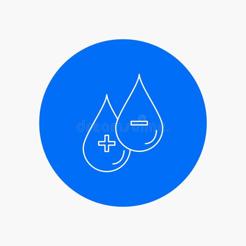 krew, kropla, ciecz, Plus, Minus Białej linii ikona w okręgu tle Wektorowa ikony ilustracja ilustracja wektor
