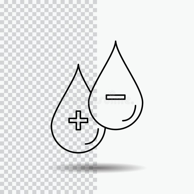 krew, kropla, ciecz, Plus, Minus Kreskowa ikona na Przejrzystym tle Czarna ikona wektoru ilustracja royalty ilustracja