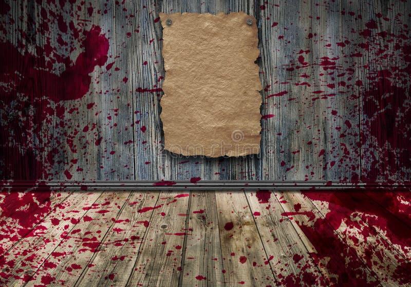 Krew na ścianie, abstrakcjonistyczny izbowy wnętrze ilustracja wektor