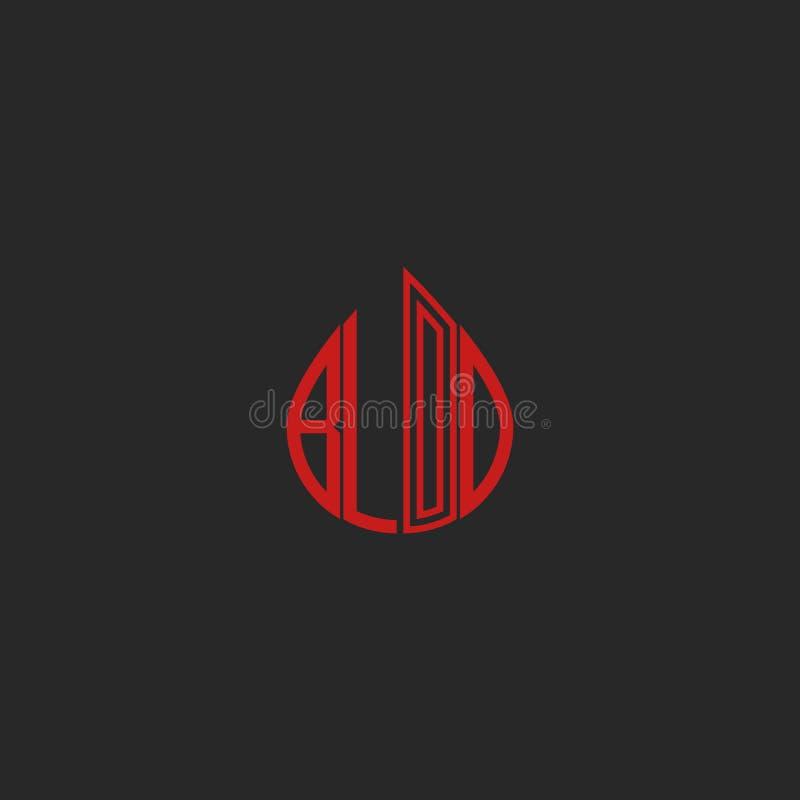Krew opadowy logo, czerwonego literowania krwionośny słowo w opadowym kształcie, koszulka druku mockup, graficzna medyczna ikona royalty ilustracja