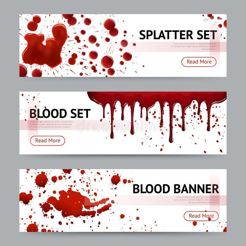 Krew Splatters Horyzontalnych sztandary Ustawiających ilustracji