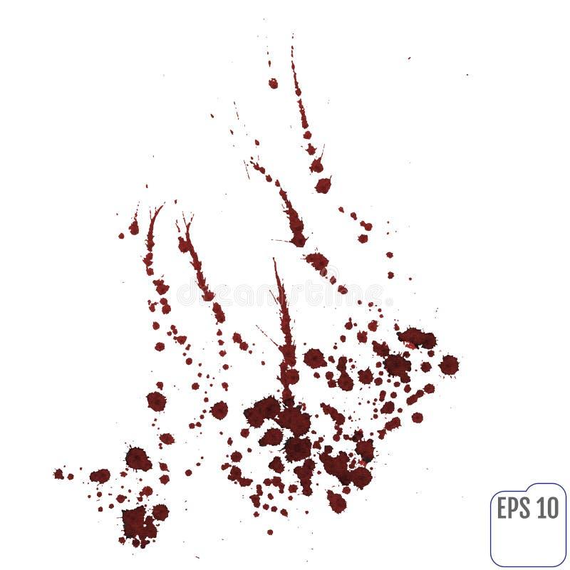 Krew splatters odizolowywający na bielu Ścinek ścieżka ilustracja wektor
