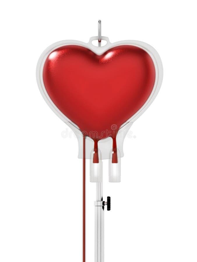 Krew wśrodku serce kształtującej torby ilustracja 3 d ilustracja wektor