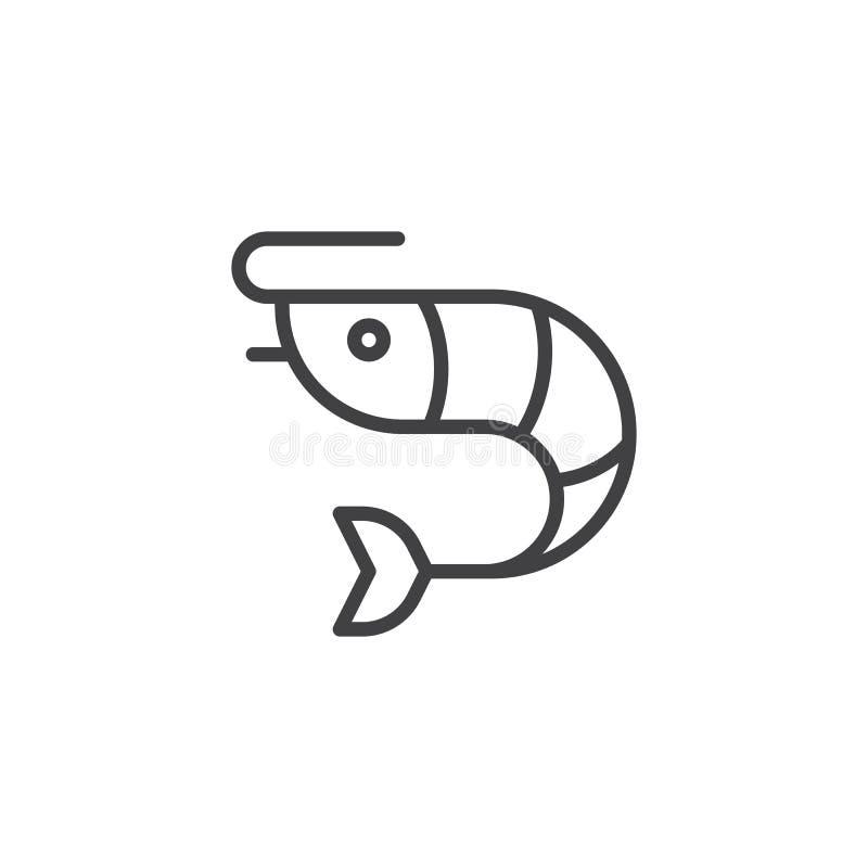 Krewetkowa karmowa kontur ikona ilustracja wektor