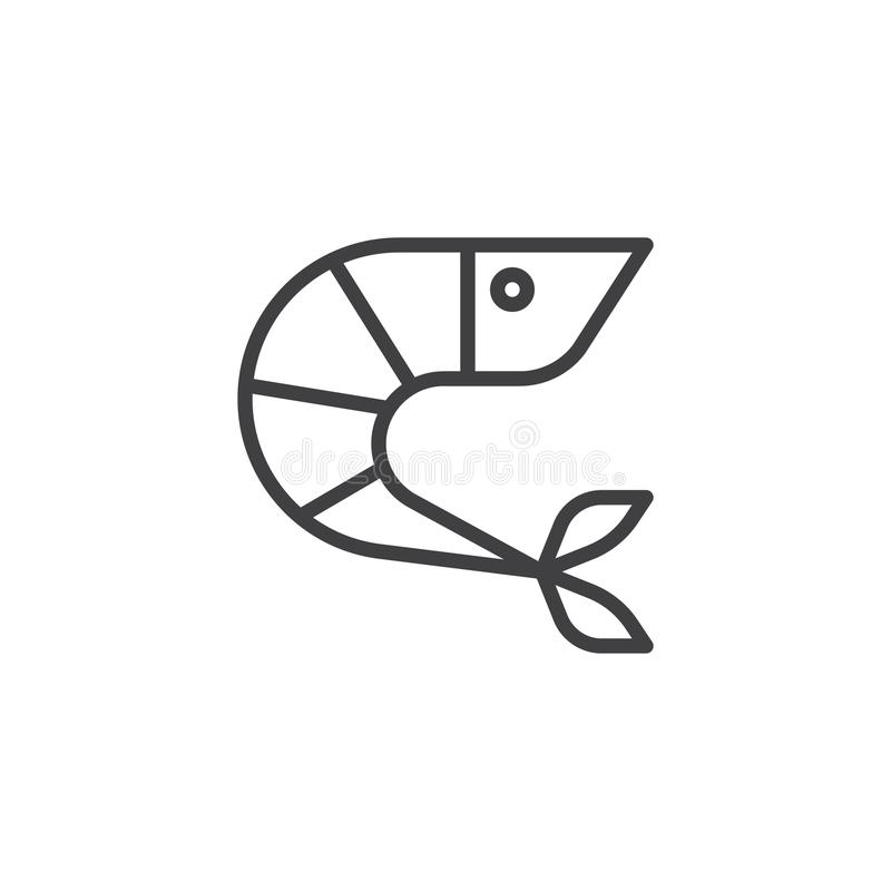 Krewetkowa kontur ikona royalty ilustracja