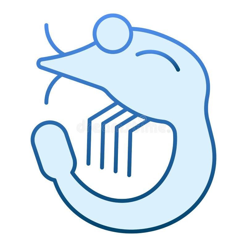 Krewetkowa płaska ikona Owoce morza błękitne ikony w modnym mieszkanie stylu Zwierzęcy gradientu stylu projekt, projektujący dla  ilustracja wektor