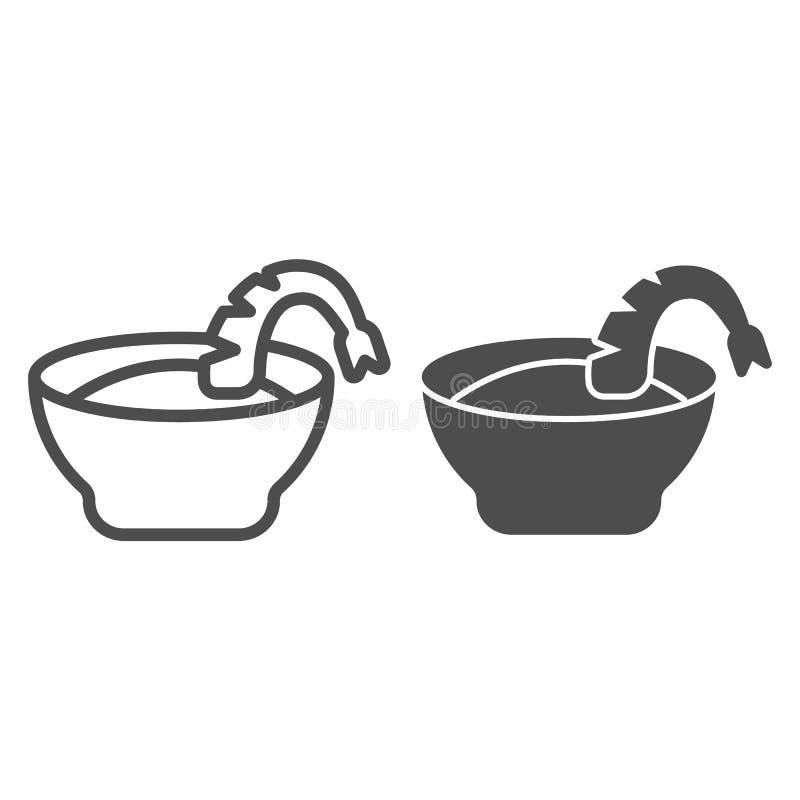 Krewetkowa polewki linia i glif ikona Pucharu i garneli wektorowa ilustracja odizolowywająca na bielu Owoce morza konturu stylu p ilustracji