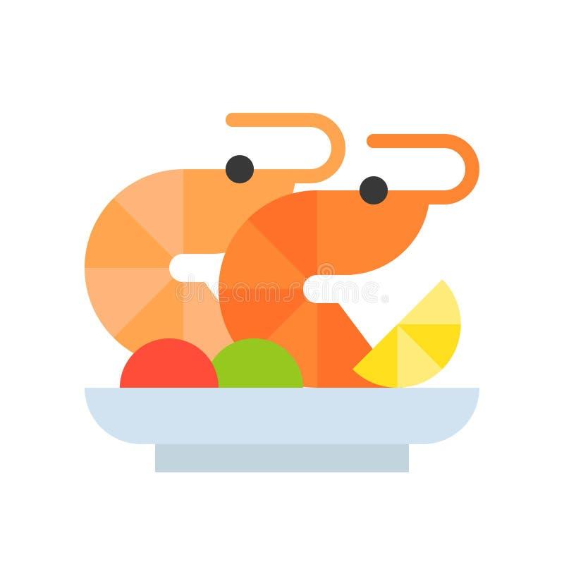 Krewetkowa sałatka, koktajl, owoce morza, jedzenie lub gastronomy set krewetki, płaska ikona ilustracji
