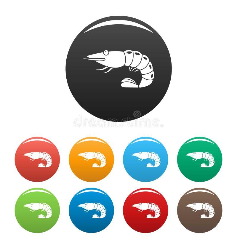 Krewetkowe ikony ustawiający kolor ilustracja wektor
